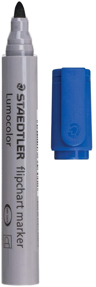 Staedtler Маркер для флипчарта Lumocolor цвет синий 356-3150754Маркер для флипчарта предназначен для письма на бумажной доске или бумаге. Чернила без запаха имеют водную основу, на бумаге не расплываются и не просачиваются сквозь неё. Открытый маркер не высыхает в течение одной недели.