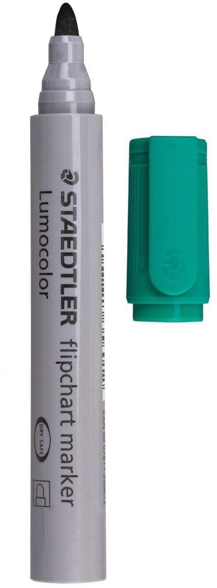 Staedtler Маркер для флипчарта Lumocolor цвет зеленый 356-5150755Маркер для флипчарта предназначен для письма на бумажной доске или бумаге. Чернила без запаха имеют водную основу, на бумаге не расплываются и не просачиваются сквозь неё. Открытый маркер не высыхает в течение одной недели.