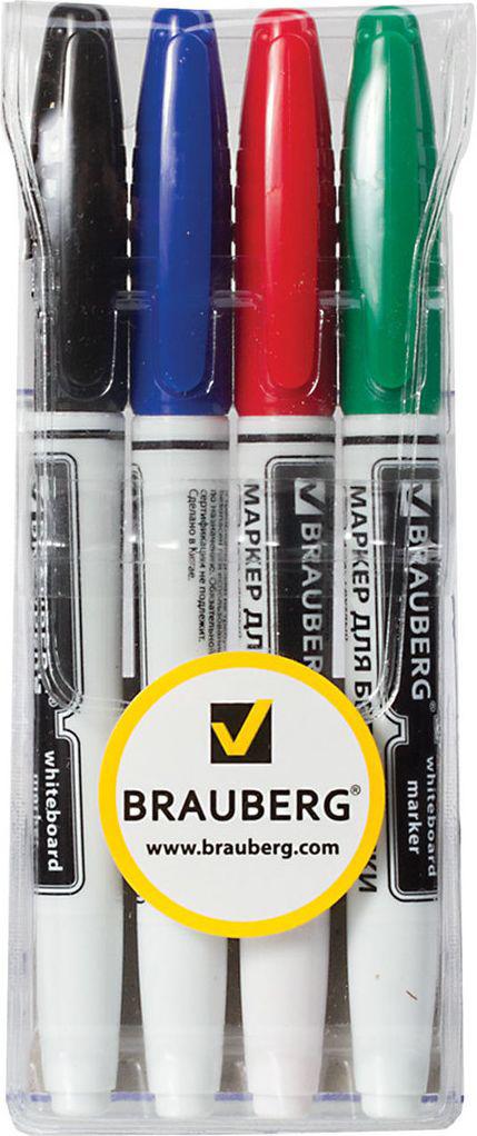 Brauberg Набор маркеров для доски 4 цвета 150850150850Набор высококачественных маркеров для белой маркерной доски. Не высыхают с открытым колпачком в течение нескольких дней.