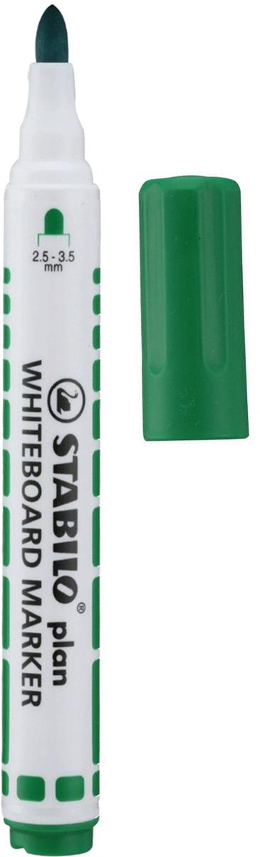 Stabilo Маркер для доски Plan цвет зеленый150921Маркер для белых досок и флипчартов Stabilo Plan имеет полипропиленовый белый корпус цилиндрической формы с цветовыми отметками и колпачком в цвет чернил. Легко удаляется с большинства поверхностей сухим способом.
