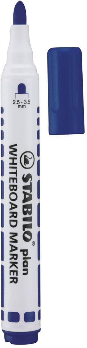 Stabilo Маркер для доски Plan цвет синий150923Маркер для белых досок и флипчартов Stabilo Plan имеет полипропиленовый белый корпус цилиндрической формы с цветовыми отметками и колпачком в цвет чернил. Легко удаляется с большинства поверхностей сухим способом.