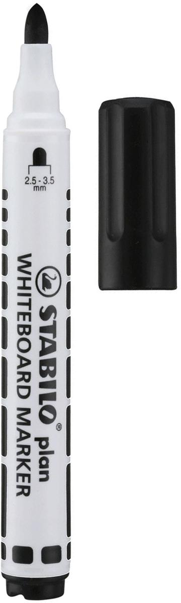 Stabilo Маркер для доски Plan цвет черный150924Маркер для белых досок и флипчартов серии STABILO plan имеет полипропиленовый белый корпус цилиндрической формы с цветовыми отметками и колпачком в цвет чернил. Легко удаляется с большинства поверхностей сухим способом.