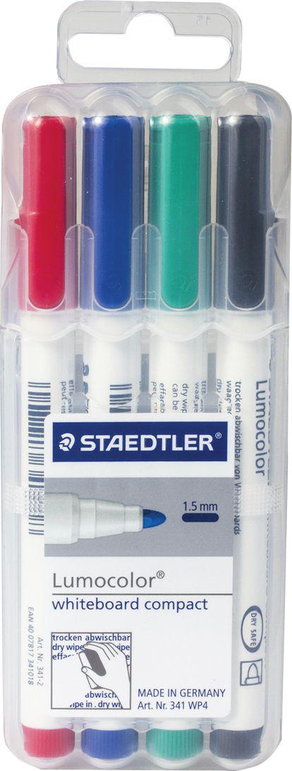 Staedtler Набор маркеров для доски Lumocolor 4 цвета 351 B WP4150998Высококачественные маркеры для белой магнитно-маркерной доски. Не высыхают с открытым колпачком в течение нескольких дней. Чернила легко стираются с доски стирателем для магнитно-маркерной доски. Даже при сильном нажатии пишущий узел остается на месте.