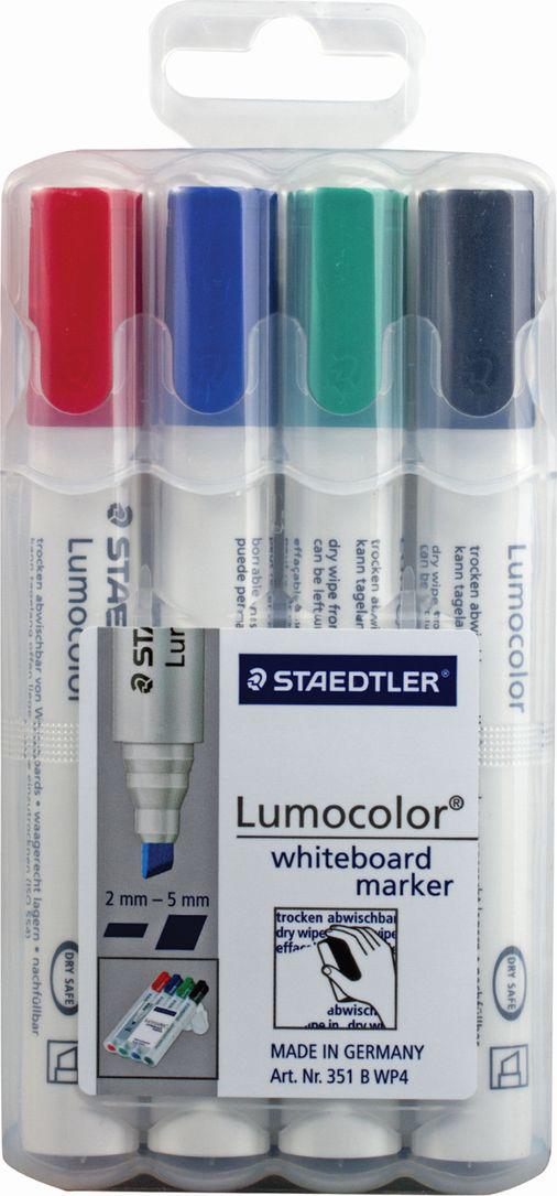 Staedtler Набор маркеров для доски Lumocolor 4 цвета 351 B WP4151008Высококачественные маркеры для белой магнитно-маркерной доски. Не высыхают с открытым колпачком в течение нескольких дней. Чернила легко стираются с доски стирателем для магнитно-маркерной доски. Даже при сильном нажатии пишущий узел остается на месте.