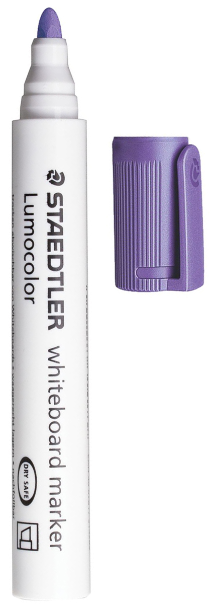 Staedtler Маркер для доски Lumocolor цвет фиолетовый 351-6151014Высококачественный маркер для белой магнитно-маркерной доски. Не высыхает с открытым колпачком в течение нескольких дней. Чернила легко стираются с доски стирателем для магнитно-маркерной доски. Даже при сильном нажатии пишущий узел остается на месте.