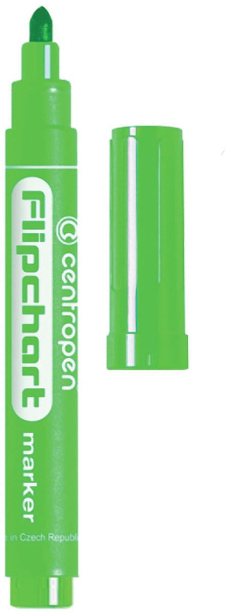 Centropen Маркер для флипчарта цвет зеленый 8550/1З151132Маркер для флипчарта Centropen предназначен для письма на бумажной доске или бумаге. Чернила без запаха имеют водную основу, на бумаге не расплываются и не просачиваются сквозь неё. Открытый маркер не высыхает в течение одной недели.