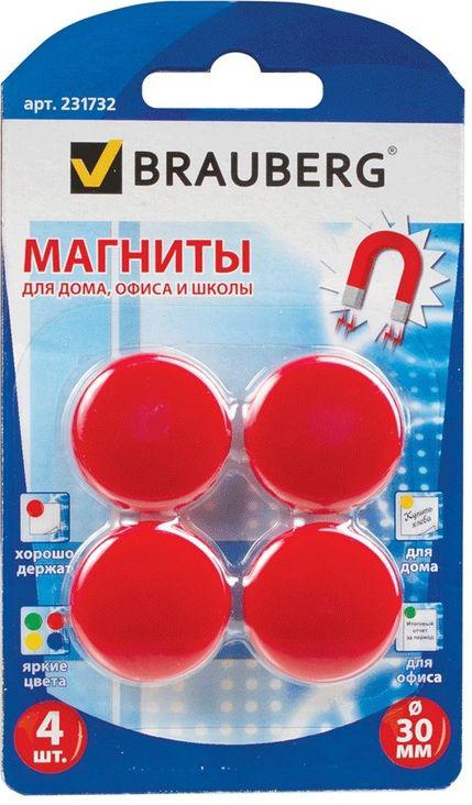 Brauberg Магнит для досок цвет красный 3 см 4 шт231732Магниты яркого красного цвета помогут надежно прикрепить листы бумаги к магнитно-маркерной поверхности досок, витрин и флипчартов. Надежно удерживаются на любой железной или стальной поверхности.