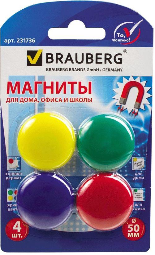 Brauberg Магнит для досок 5 см 4 шт231736Разноцветные магниты помогут надежно прикрепить листы бумаги к магнитно-маркерной поверхности досок, витрин и флипчартов. Надежно удерживаются на любой железной или стальной поверхности.
