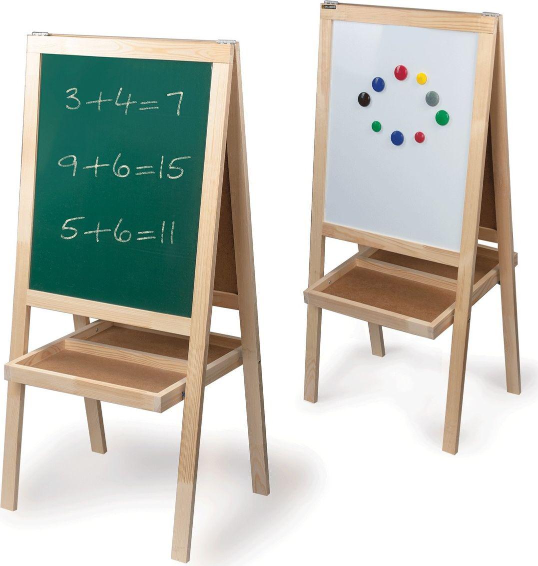 Предназначена для учебы и творчества. Легко перемещается. Белое лаковое покрытие используется для письма специальными маркерами для белой доски, зеленое - для письма мелом.