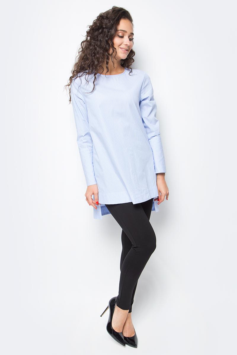 Блузка женская Baon, цвет: голубой. B177514_Deep Angel Blue Striped. Размер L (48)B177514_Deep Angel Blue StripedЭлегантная блузка от Baon - модель, которая освежит ваш деловой гардероб. Изделие имеет прямой крой и удлиненную спинку. Широкие манжеты застегиваются на кнопки, такая же застежка на кнопку расположена на спине. Хлопковый материал с принтом в полоску подарит тактильное и визуальное наслаждение.