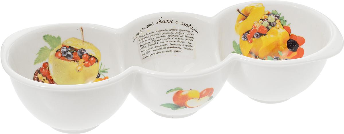 Форма для запекания LarangE Яблоки с ягодами, 26 x 10 x 5,8 см598-089Форма для запекания LarangE выполнена из высококачественного фарфора, порадует вас изящным дизайном и практичностью. Стенки формы декорированы надписью Яблоки с ягодами и изображением этого блюда. Кроме того, для упрощения процесса приготовления на стенках написан рецепт блюда и изображены необходимые продукты. Такая посуда украсит ваш праздничный или обеденный стол, а оригинальное исполнение понравится любой хозяйке.Размер формы: 26 x 10 x 5,8 см.