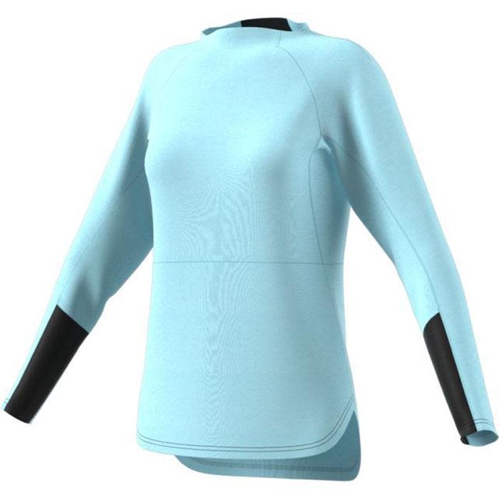 Лонгслив женский Adidas W CTC WO Crew, цвет: голубой, черный. BR8685. Размер 38 (46)BR8685Женский лонгслив Adidas Terrex Climb The City Wool создан для активного отдыха. Модель выполнена из шерсти мериноса и полиэстера. Удлиненная спинка для дополнительного комфорта и уникального стиля. Эластичные вставки в рукавах и в области шеи для большей свободы движений. Карман на молнии сбоку для самого необходимого.