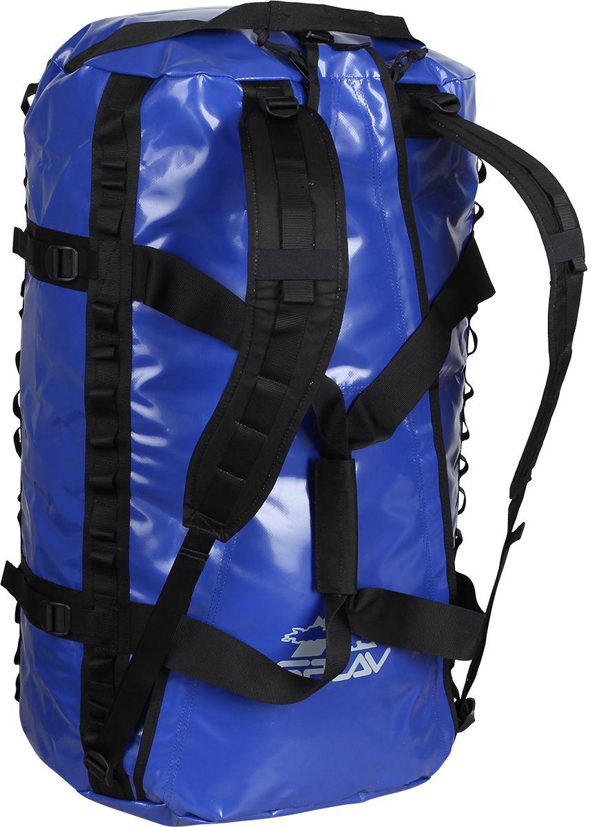 Баул Сплав Dakar, цвет: синий, 44 х 27 х 65 см, 80 л5033460Удобный, влагозащитный транспортный баул для транспортировки снаряженияЛямки для ношения за спинойУдобная ручка для переноски в рукеДве ручки с торцов для погрузки-разгрузкиОбычно разложенные на ковре горы экспедиционного снаряжения вызывают три вопроса:- кто это все понесет и надолго ли его хватит? -почему я не умер маленьким?-куда это все влезет?На первые два вопроса ответа нет, а третий зависит от характера и продолжительности вашей экспедиции (или похода). Если планируются длительные горные, альпинистские или спелеологические экспедиции, то есть экспедиции, предполагающие базовый лагерь, большое количество снаряжения и заброску транспортом, рюкзаки уступают место или дополняются транспортными баулами.Кроме того, баулы незаменимы на багажнике внедорожника, снегохода или квадрацикла, палубе парусного катамарана или в трюме исследовательского судна.Популярность транспортных баулов объясняется их легкостью, прочностью, защитными свойствами ткани, из которых они изготовлены, удобством упаковки и свободой доступа к снаряжению.От классических транспортных баулов баулы Dakar 60, 80, 100 и 120 отличаются входом, позволяющим свободно размещать в них длинномерные грузы.Баулы изготовлены из ПВХ- ткани теза , которая при относительно малом весе обладает водонепроницаемостью, стойкостью к перепадам температур, ультрафиолету и антибактериальной устойчивостью.Две молнии верхнего клапана обеспечивают свободный доступ к снаряжению и закрыты от попадания влаги и пыли внутрь клапанами.Съемные лямки анатомической формы позволяют переносить баул на спине.Две удобные ручки для переноски скрепляются между собой липучкой.Торцевые ручки для погрузки специальной формы, что обеспечивает правильное распределение нагрузки.Для крепления баула к багажнику автомобиля, палубе катамарана и т.д., а также различных навесок предусмотрены по два ряда петель с каждой его стороны. В случае крепления баула за нижние петли, вам не понадобится отв