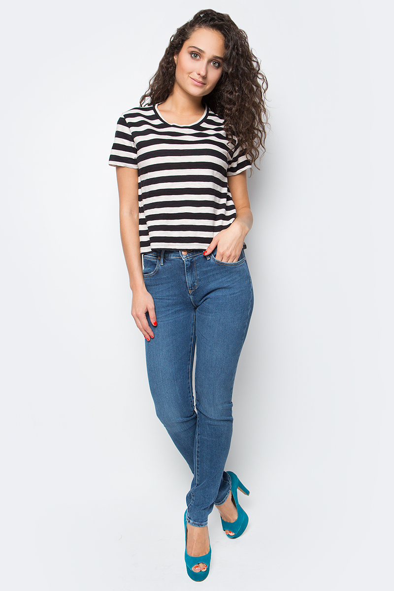 Футболка женская Wrangler, цвет: черный, белый. W7371DW02. Размер XS (40) футболка жен wrangler цвет белый w7350ev12 размер xs 40