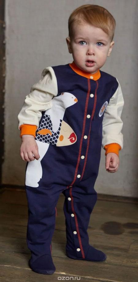 Комбинезон домашний для мальчика Lucky Child, цвет: синий. 32-1ф. Размер 80/86 пижама для девочки lucky child цвет кремовый желтый оранжевый 12 402 размер 80 86
