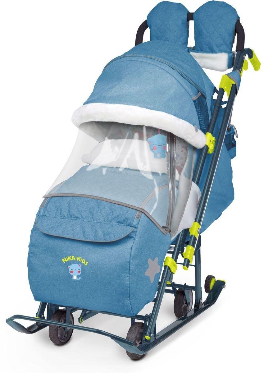 Ника Санки-коляска Детям 7-3 Джинс цвет синий - Санки и снегокаты