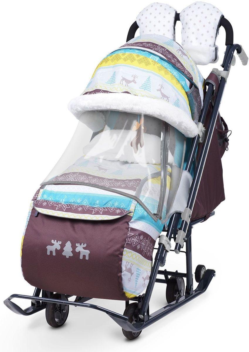 Ника Санки-коляска Детям 7-3 Скандинавия цвет бирюзовый - Санки и снегокаты