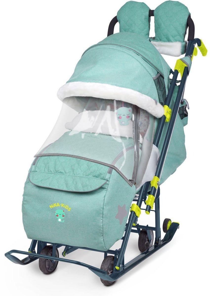 Ника Санки-коляска Детям 7-3 Джинс цвет зеленый - Санки и снегокаты