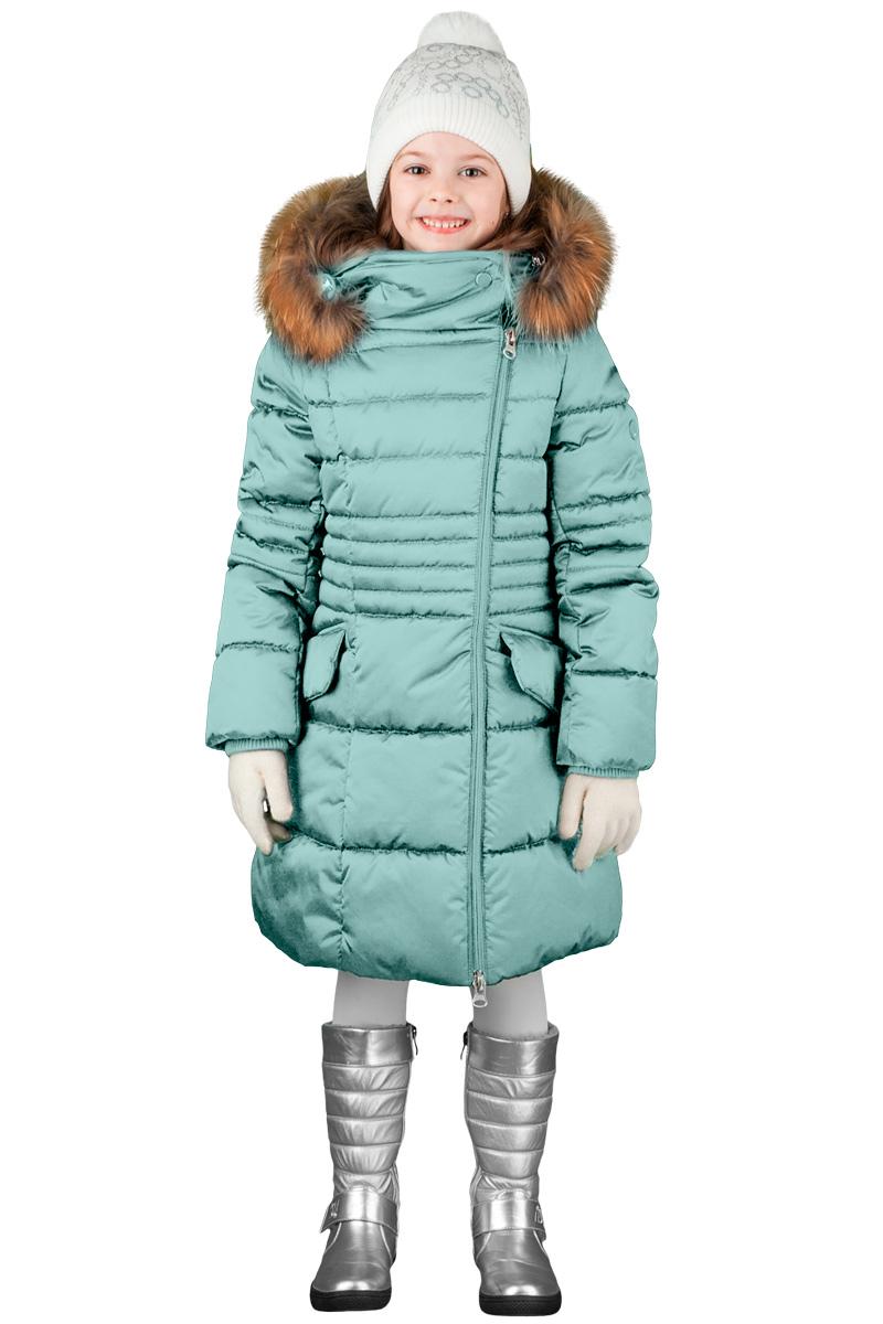 Пальто для девочки Boom!, цвет: бирюзовый. 70474_BOG_вар.2. Размер 116, 5-6 лет70474_BOG_вар.2Зимнее классическое пальто для девочки Boom! c капюшоном и длинными рукавами выполнено из высококачественного материала. Модель застегивается на асимметричную застежку-молнию спереди. Меховая опушка из натурального меха. Рукава дополнены трикотажными манжетами.