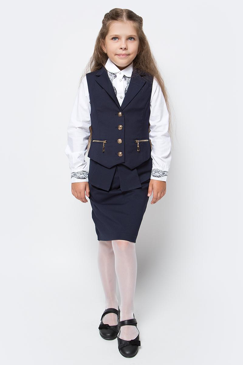 Жилет для девочки Vitacci, цвет: темно-синий. 2173080-04. Размер 1522173080-04Жилет для девочки выполнен из качественного материала. Модель застегивается на пуговицы.