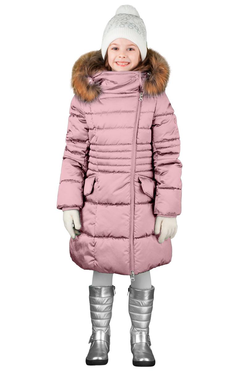 Пальто для девочки Boom!, цвет: розовый. 70474_BOG_вар.1. Размер 122, 7-8 лет70474_BOG_вар.1Зимнее классическое пальто для девочки Boom! c капюшоном и длинными рукавами выполнено из высококачественного материала. Модель застегивается на асимметричную застежку-молнию спереди. Меховая опушка из натурального меха. Рукава дополнены трикотажными манжетами.