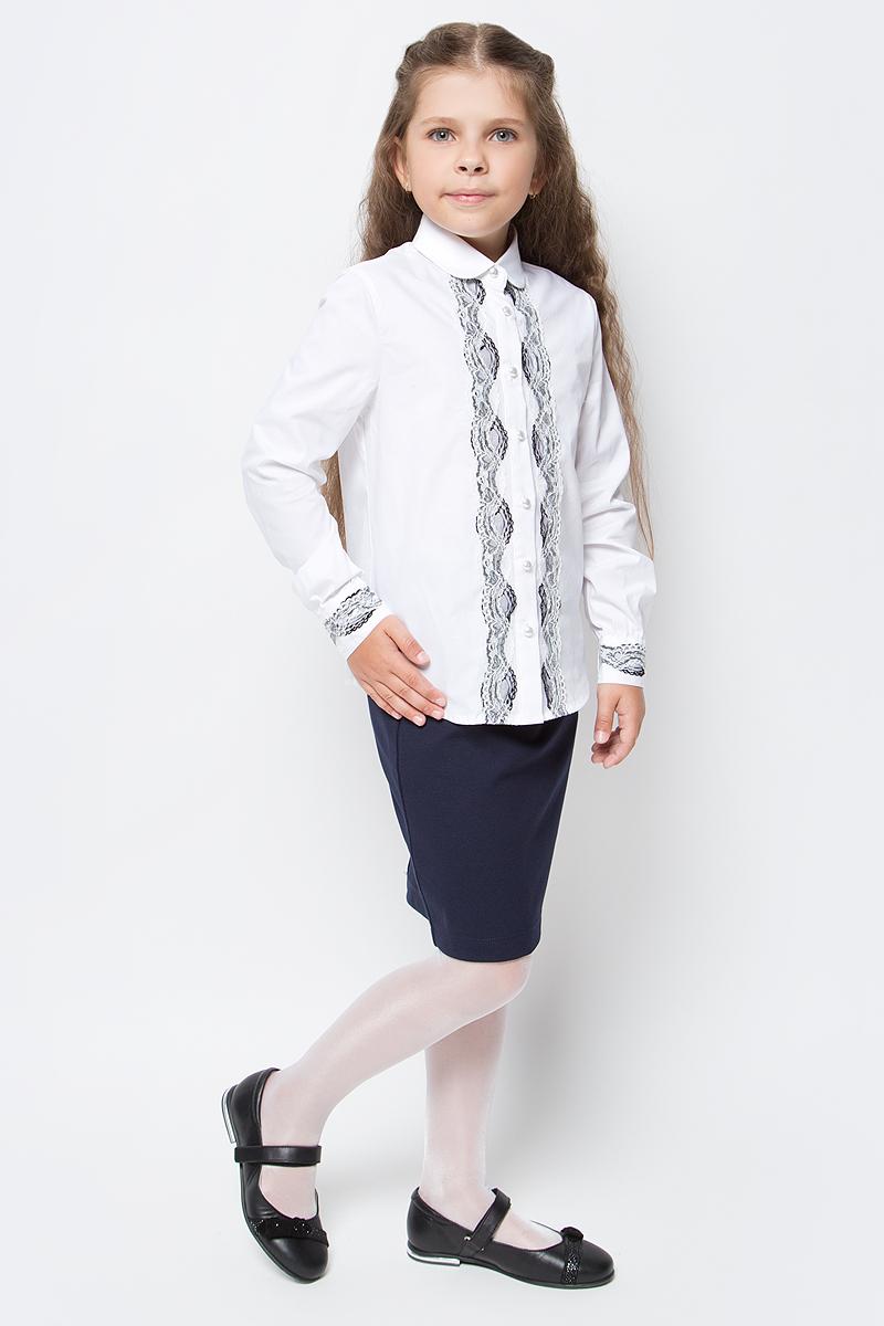 Блузка для девочки Overmoon by Acoola Donna, цвет: белый. 21200260008_200. Размер 12821200260008_200Блузка для девочки Luhta Donna выполнена из высококачественного материала и украшена кружевом. Модель приталенного силуэта с отложным воротником и длинными рукавами застегивается на пуговицы.