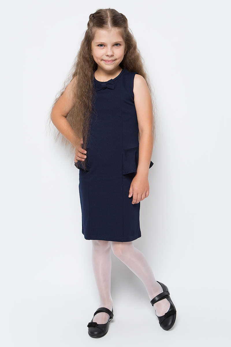 Платье Luminoso, цвет: темно-синий. 728071. Размер 122728071Стильное платье-футляр Luminoso изготовлено из хлопка и полиэстера с добавлением эластана. Модель без рукавов имеет круглый вырез горловины. По бокам платье дополнено воланами, горловина украшена бантиком.
