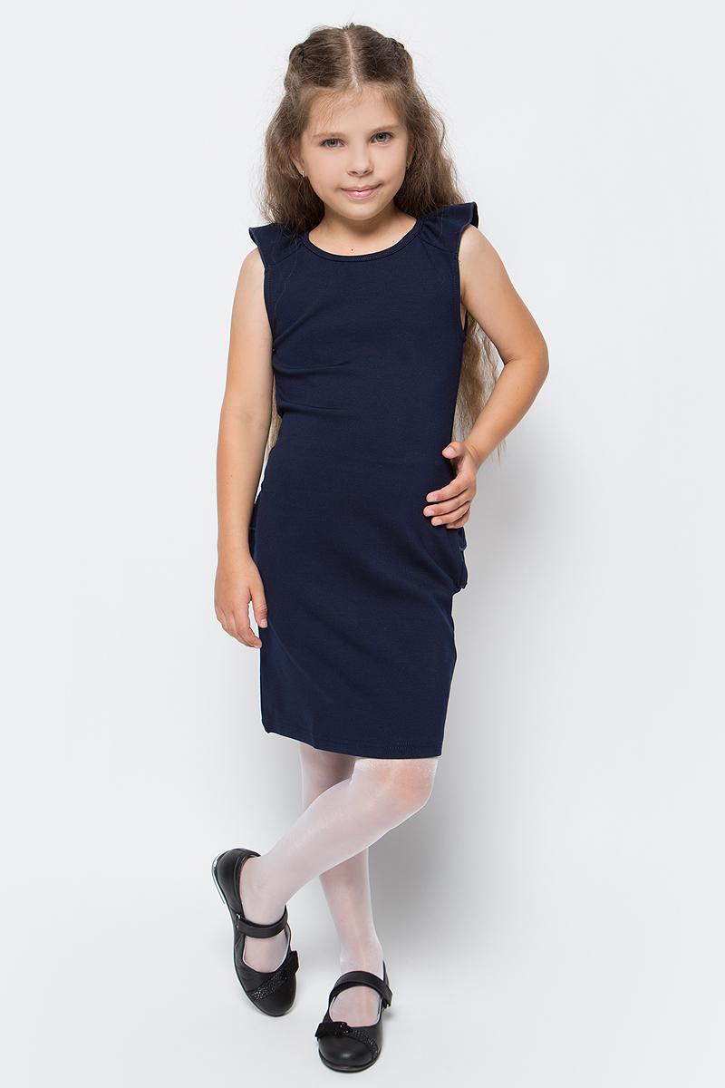 Платье Luminoso, цвет: темно-синий. 728070. Размер 140728070Стильное платье-футляр Luminoso изготовлено из хлопка и полиэстера с добавлением эластана. Модель без рукавов имеет круглый вырез горловины. Плечики дополнены воланами, сзади платье украшено рюшами.