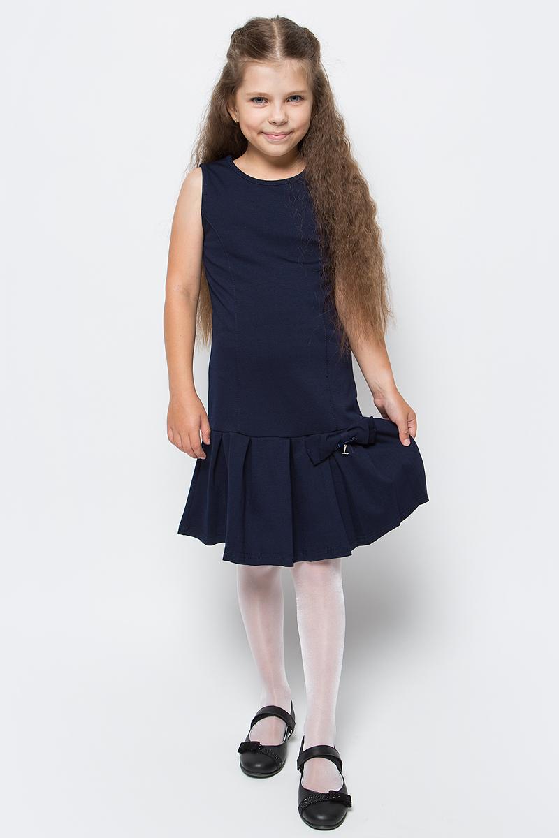 Платье Luminoso, цвет: темно-синий. 728098. Размер 152728098Стильное платье Luminoso изготовлено из хлопка и полиэстера с добавлением эластана. Модель без рукавов имеет круглый вырез горловины и пышную юбочку, украшенную бантиком с подвеской.