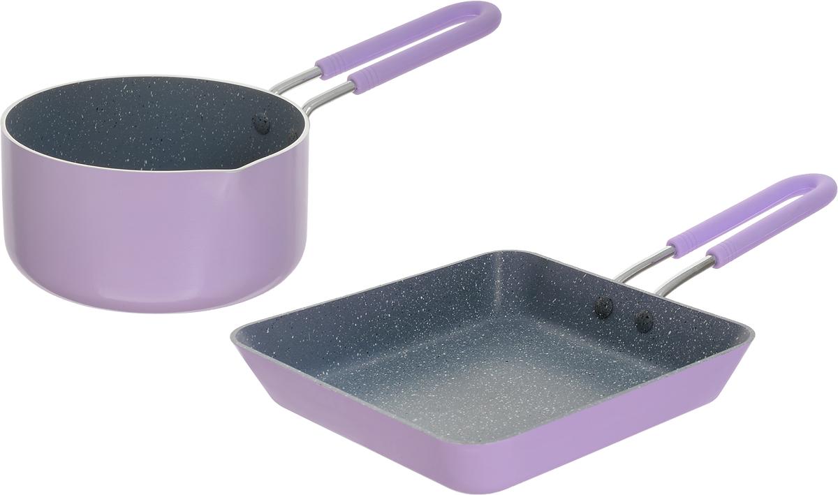 Набор посуды Fissman Petite, с антипригарным покрытием, цвет: лиловый, 2 предметаAL-4867.1214Набор посуды Fissman Petite состоит из ковша и квадратной сковороды. Посуда выполнена из литого алюминия с экологически безопасным 4-слойным каменным антипригарным покрытием. Первый слой улучшает сцепление покрытия с металлом, второй слой - грунтовый, третий слой - высокопрочное антипригарное покрытие, усиленное натуральной каменной крошкой на основе минеральных компонентов, четвертый дополнительный антипригарный слой с керамическими частицами. В такой посуде можно готовить пищу без добавления масла или с минимальным его количеством, что немало важно для детского меню. Покрытие не содержит в своем составе PFOA и других вредных веществ. Набор имеет удобные металлические ручки, покрытые силиконом, которые не нагреваются и не скользят в руках. Набор подходит для газовых, электрических, стеклокерамических плит. Можно мыть в посудомоечной машине. Объем ковша: 670 мл. Диаметр ковша: 12 см. Высота стенки ковша: 6 см. Размер сковороды: 14 х 14 см. Высота стенки сковороды: 3 см.
