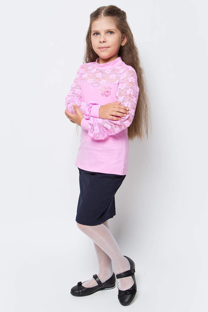 Блузка для девочки Nota Bene, цвет: розовый. CJR27047A05. Размер 128CJR27047A05Блузка для девочки Nota Bene выполнена из хлопкового трикотажа в сочетании с гипюром. Модель с длинными рукавами и воротником-стойкой.