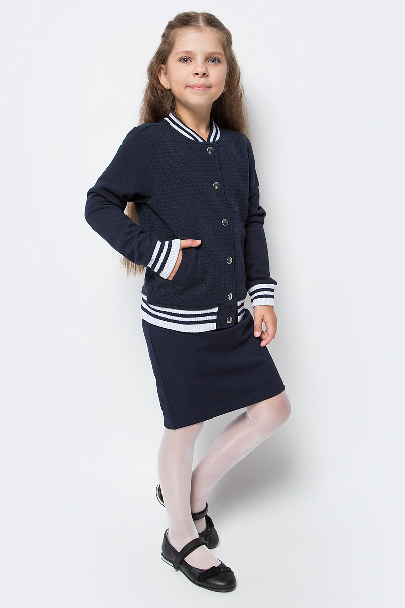 Жакет для девочки Sela, цвет: темно-синий. Stc-613/444-7320. Размер 128, 8 летStc-613/444-7320Жакет для девочки Sela изготовлен из высококачественного материала. Модель с длинными рукавами застегивается на кнопки. Жакет по бокам дополнен двумя боковыми карманами.
