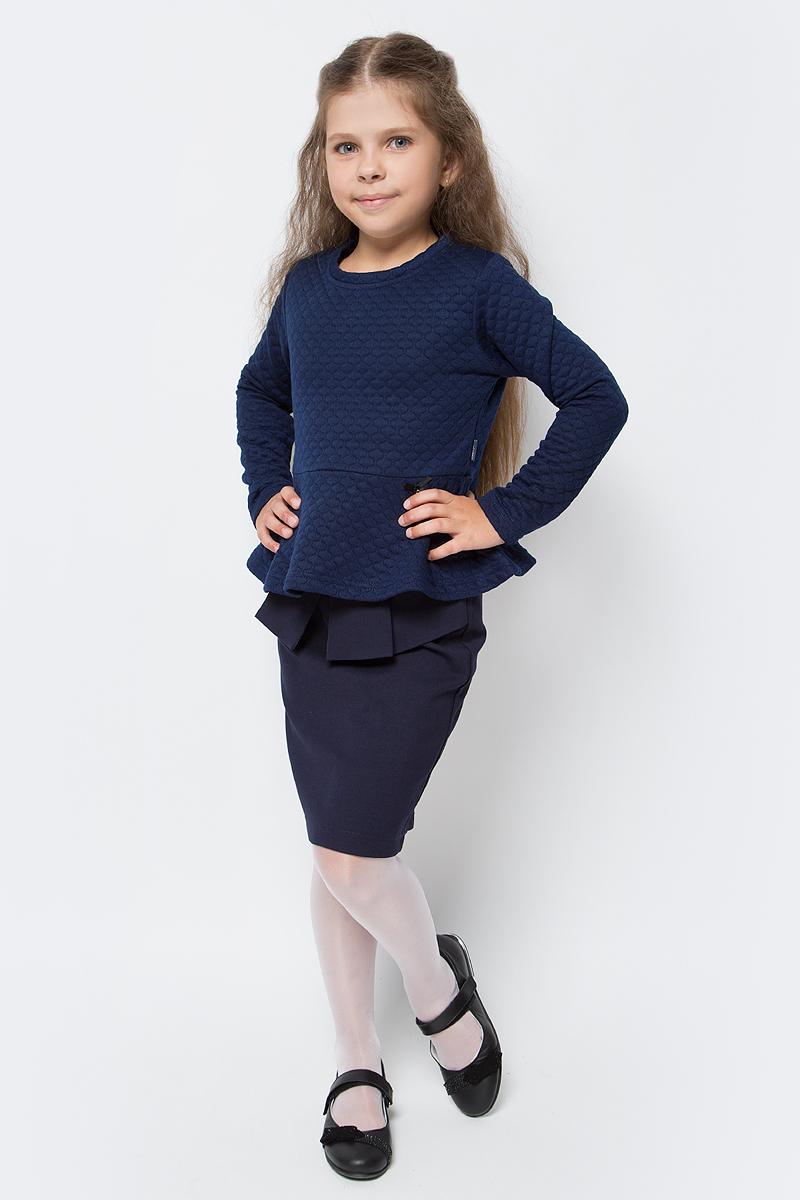 Джемпер для девочки Luminoso, цвет: темно-синий. 728107. Размер 146728107Джемпер для девочки Luminoso выполнен из хлопка с добавлением полиэстера. Модель имеет длинные рукава и круглый вырез горловины. Изделие декорировано стежкой и баской, низ дополнен бантиком с подвеской.