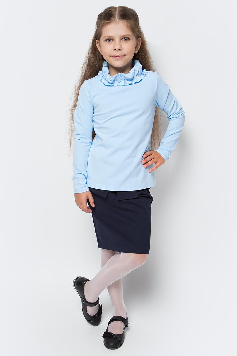 Водолазка для девочки Vitacci, цвет: голубой. 2173087-10. Размер 1222173087-10Водолазка для девочки выполнена из хлопка и эластана. Модель с длинными рукавами.