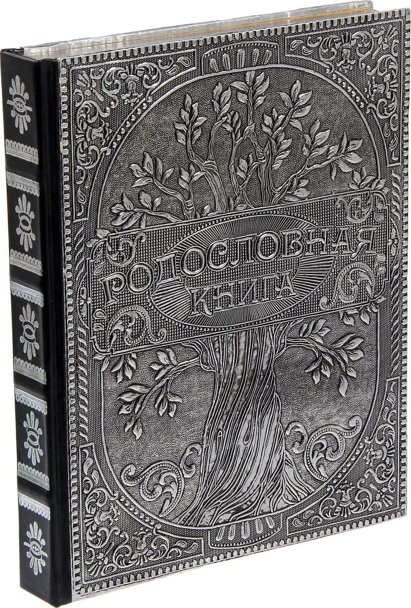 Родословная книга Память на века, цвет: серебристый, 22,5 х 28,5 х 3,7 см1196293Семья - главное богатство в жизни человека! Сохранить традиции, записать историю поколений и передать их по наследству поможет родословная книга. Она сделана вручную лучшими мастерами прекрасной Индии. Книга с обложкой из крепкого алюминия содержит 68 страниц (включая инструкции и наименование разделов), сшитых между собой. Обрез украшен серебрением, а корешок выполнен из натуральной кожи. Фолиант сохранит важную информацию и поможет погрузиться в интересное прошлое вашей семьи! Внутри книги вы найдете: адресный лист;список персон рода;индивидуальные листы;листы родов по отцовской и материнской линиям;лист для записи традиций;календарь семейных дат;лист для послания потомкам;пример заполнения индивидуального листа.Удобная организация позволяет упорядочить данные о представителях рода по хронологии.Напишите свою семейную историю!