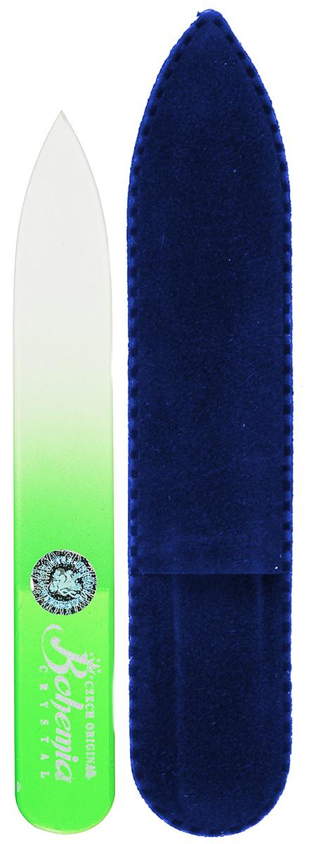 Пилочка для ногтей Bohemia, стеклянная, чехол из замши, цвет: салатовый233cz-0902вм_салатовый