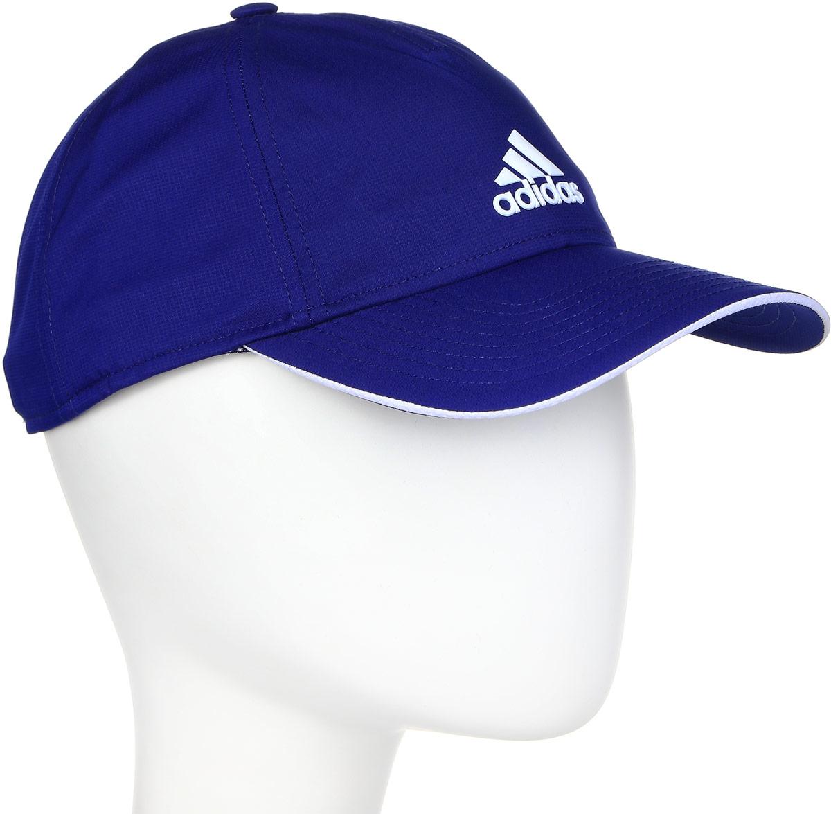 Бейсболка Adidas 5pcl Clmlt Cap, цвет: синий. BR6708. Размер 58/60BR6708Стильная бейсболка Adidas выполнена из полиэстера и дополнена широким изогнутым козырьком.Изделие оформлено спереди названием бренда. Объем бейсболки регулируется с помощью эластичного ремешка с фиксатором.