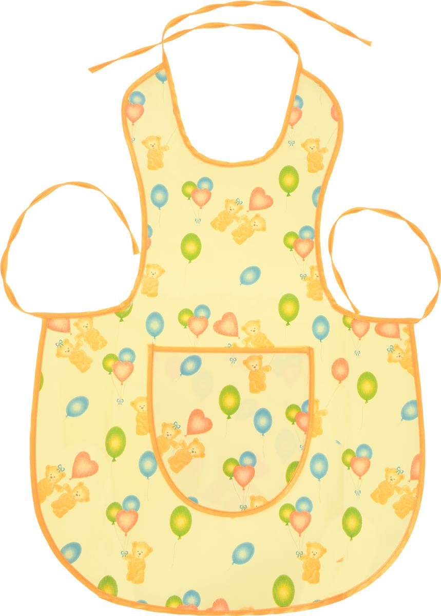 Колорит Фартук ишки с шариками цвет желтый оранжевый 52 х 45 см70_желтый, оранжевыйФартук Колорит Мишки с шариками с непромокаемым слоем защитит одежду малыша во время кормления и освободит родителей от дополнительных хлопот.Фартук на завязках - выбор практичных мамочек, пользоваться им можно более длительное время, пока ваш малыш растет. Благодаря завязкам, вы сможете легко контролировать длину изделия и регулировать размер горловины. Лицевая сторона оформлена изображением медвежат с шариками.