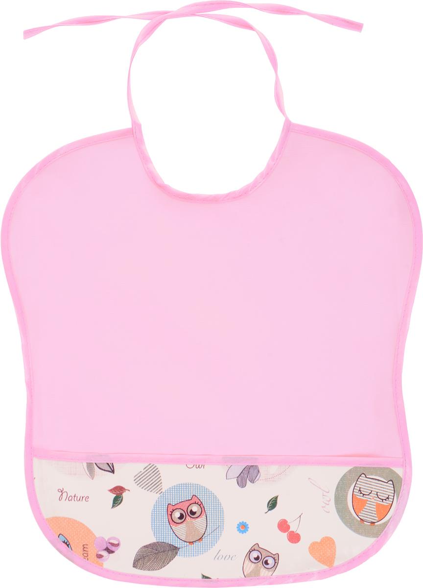 Колорит Нагрудник с карманом Совы цвет розовый 33 см х 33 см