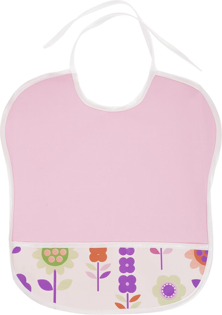 Колорит Нагрудник с карманом Цветы цвет розовый белый 33 см х 33 см