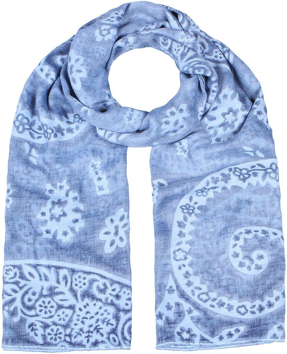 Палантин женский Модные истории, цвет: голубой. 21/0559/181. Размер 180 см х 90 см