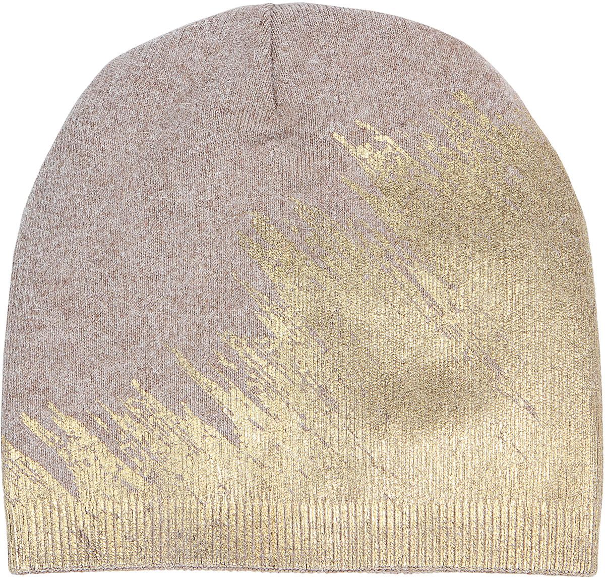 Шапка женская Модные истории, цвет: бежевый. 4/0056/006. Размер универсальный4/0056/006Яркая стильная женская шапка с геоморфным блестящим рисунком, выполненным в технике фольгированной накатки.