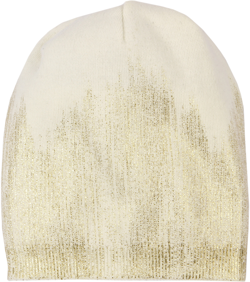 Шапка женская Модные истории, цвет: белый. 4/0055/001. Размер универсальный4/0055/001Яркая стильная женская шапка с геоморфным блестящим рисунком, выполненным в технике фольгированной накатки.