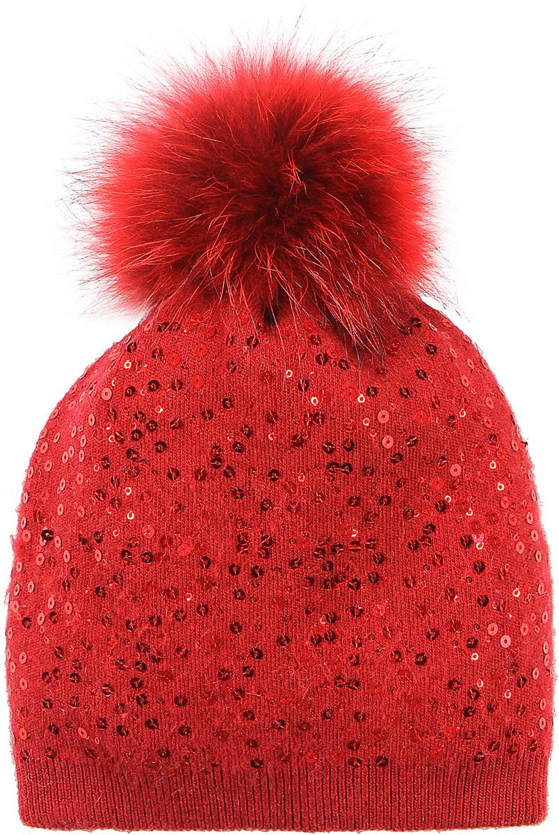 Шапка женская Модные истории, цвет: красный. 4/0058/110. Размер универсальный