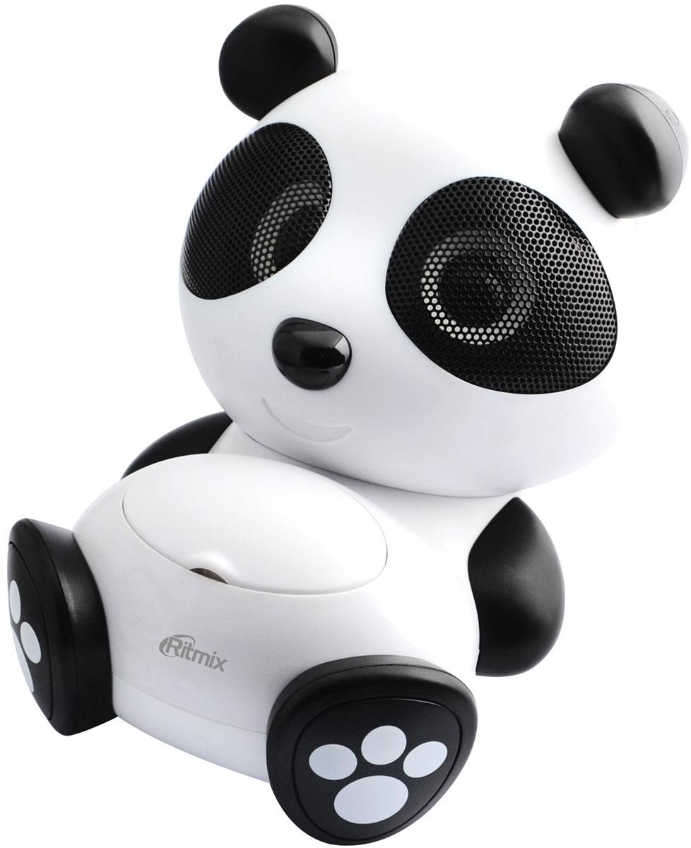 Ritmix ST-550 Panda портативная акустическая система15118370Портативная аудиосистема, режимы : карта SD, USB, AUX., стерео, мощность 2*3 Вт, питание: 4*АА батареи или от сети, адаптер питания в комплекте, настройка громкости, форма: панда