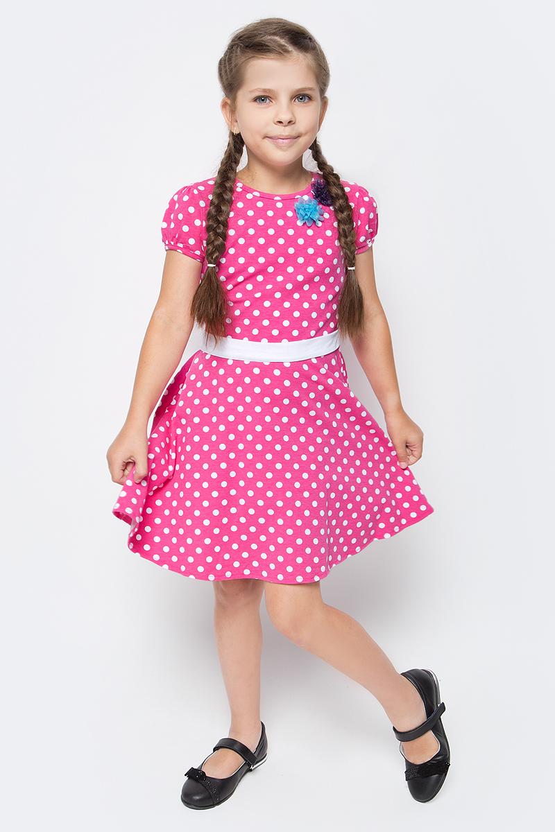 Платье для девочки M&D, цвет: красный, белый. SJD27062M25. Размер 110SJD27062M25Платье для девочки от бренда M&D приведет в восторг вашу юную модницу! Платье изготовлено из натурального хлопка. Модель с круглым вырезом горловины, отрезной талией и короткими рукавами-фонариками оформлена принтом контрастного цвета. Расклешенная юбочка придает платью воздушности и очарования. Талию подчеркивает широкий трикотажный поясок. В таком платье ваша малышка всегда будет в центре внимания.