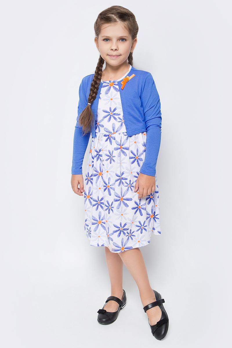 Платье для девочки M&D, цвет: светло-синий, белый, оранжевый. SJD27078M77. Размер 116SJD27078M77Платье для девочки от M&D изготовлено из натурального хлопка. Модель застегивается сзади на пуговицу. Основная часть платья оформлена цветочным принтом, верхняя часть стилизована в виде однотонной накидки с длинными рукавами. Модель декорирована на груди текстильным бантиком.
