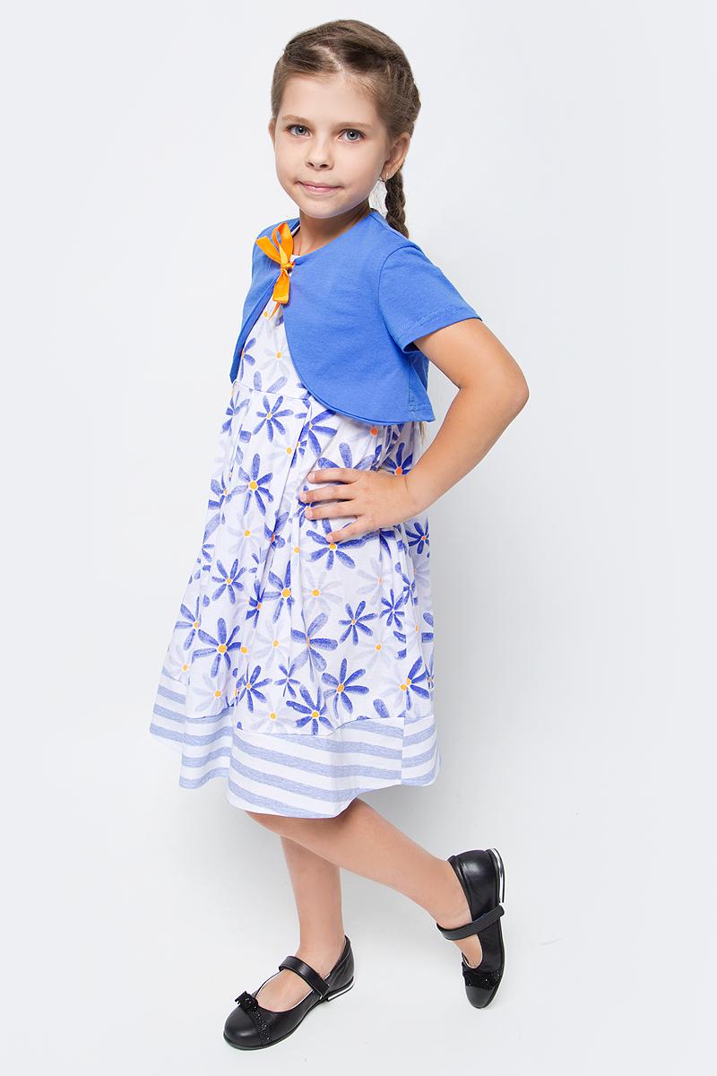 Платье для девочки M&D, цвет: белый, голубой, оранжевый. SJD27053M77. Размер 116 лосины для девочки m&d цвет бирюза мультиколор м33228 размер 116