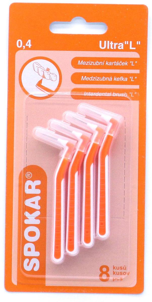 Spokar Ultra 0,4 конический ершик с изогнутой ручкой, 8 шт04Интердентальный конический ершик с изогнутой ручкой, в индивидуальном колпачке, диаметр 0,4, 8 шт.
