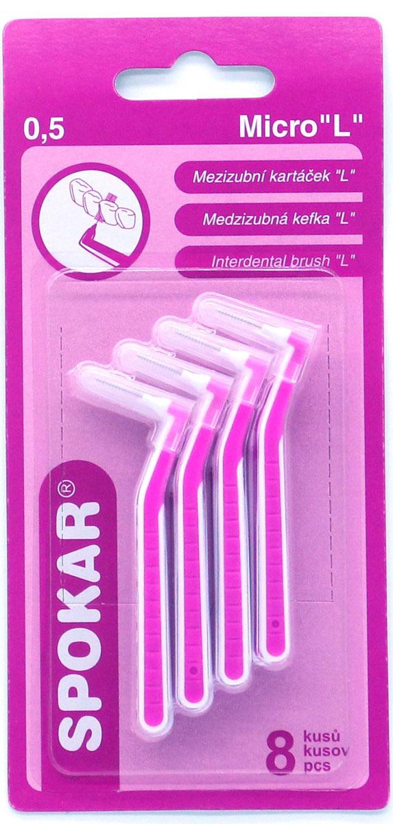 Spokar Ultra 0,5 конический ершик с изогнутой ручкой, 8 шт05Интердентальный конический ершик с изогнутой ручкой, в индивидуальном колпачке, диаметр 0,5, 8 шт.